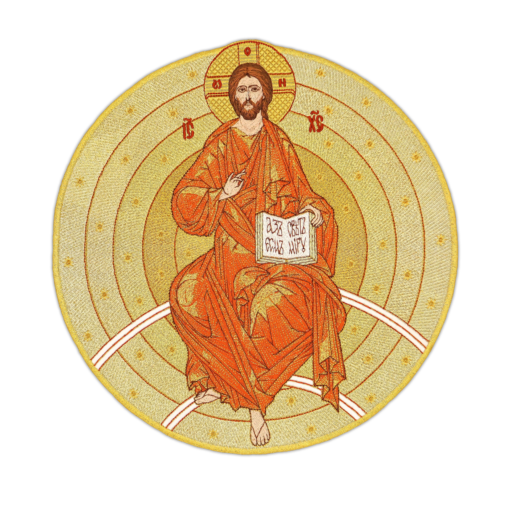 """The embroidered icon """"Savior in Strength"""" round"""