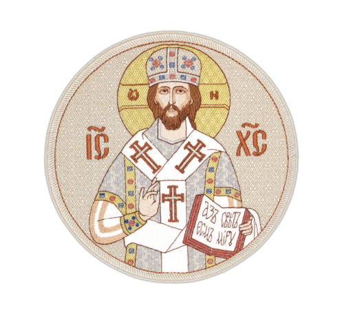 """The embroidered icon """"Savior the Great Bishop"""" round"""