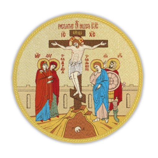 """Embroidered icon """"Crucifixion"""" Circle"""