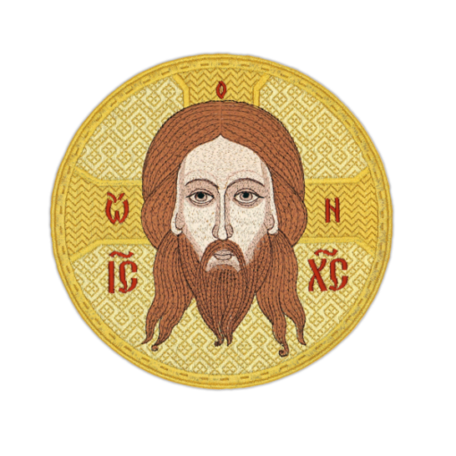 """The embroidered icon """"Savior Not Made by Hands"""" round"""