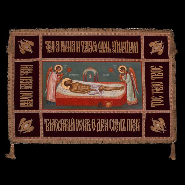 """Плащаница """"Господская"""", писаный средник, 54х106"""