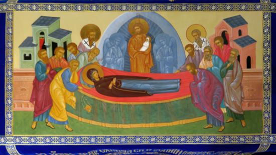 """Shroud """"Theotokos"""", painted centerpiece, 67х116"""