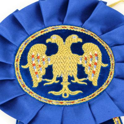 Ленты синие на дикирий-трикирий бархатные вышитые с орлом