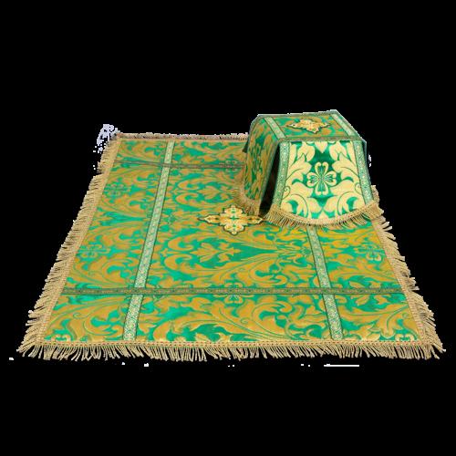 Покровцы и воздух зеленые с узором, парча Купина греческая