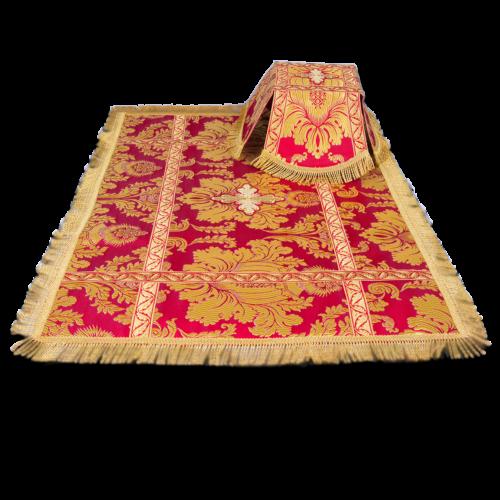 Покровцы и воздух красные с узором, парча Дамаск греческая
