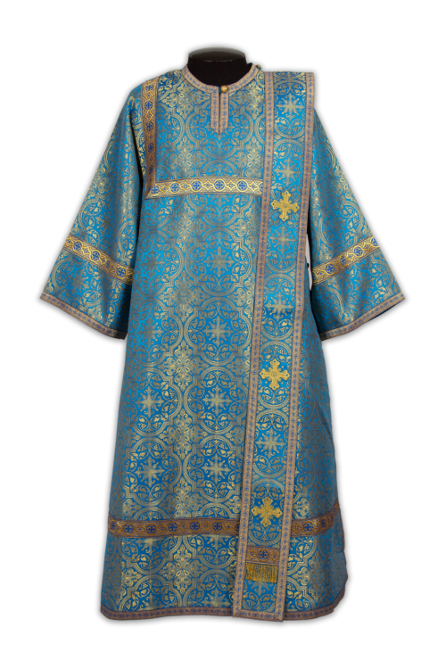 Deacon's vestments turquoise with gold, Russian brocade