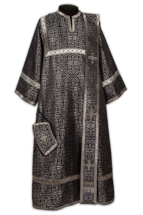 Deacon's vestments, black, Russian silk