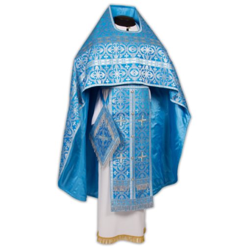 Priestly vestments blue, Russian silk