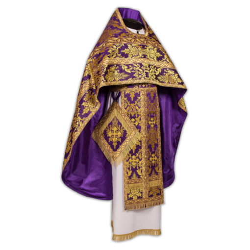 Priest's vestments purple with gold, brocade Greek
