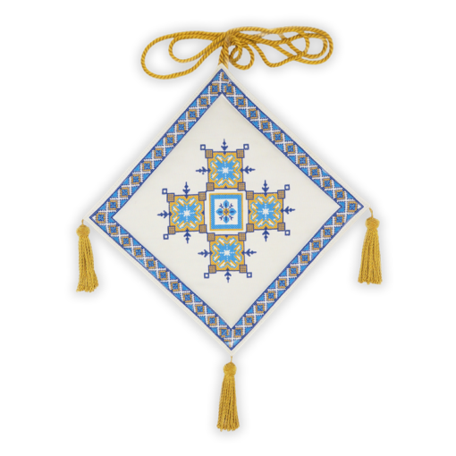 Mace embroidered from a Greek coupon