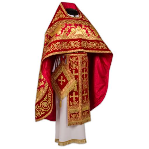 Priest's vestments, red with gold, Greek brocade