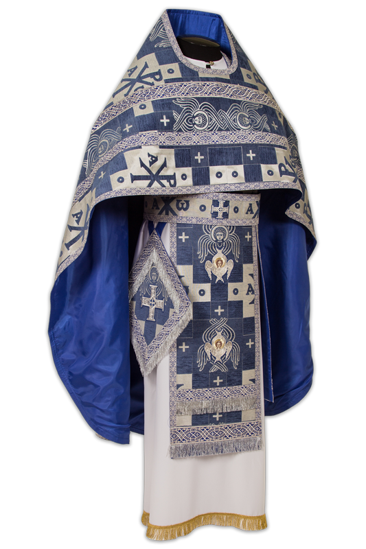 """Priestly vestments made of Italian Brocade """"Seraphim"""", embroidered lace"""