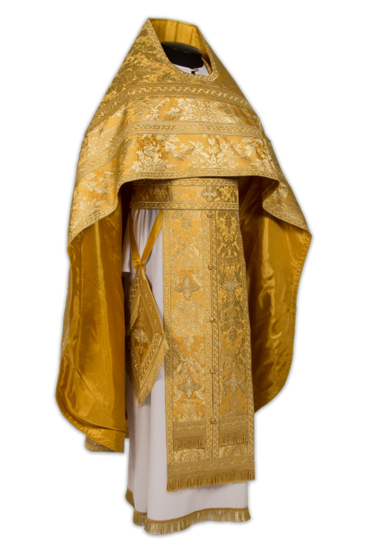 """Priestly vestments made of Greek brocade """"Gethsemane"""", embroidered lace"""