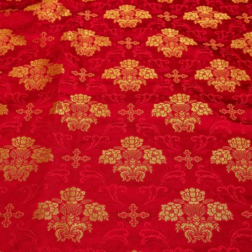 "Brocade ""Cruciferous"" red / gold"