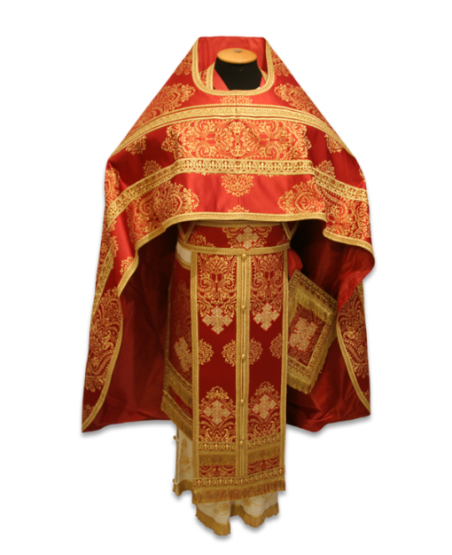 Priestly vestments Italian brocade, embroidered lace