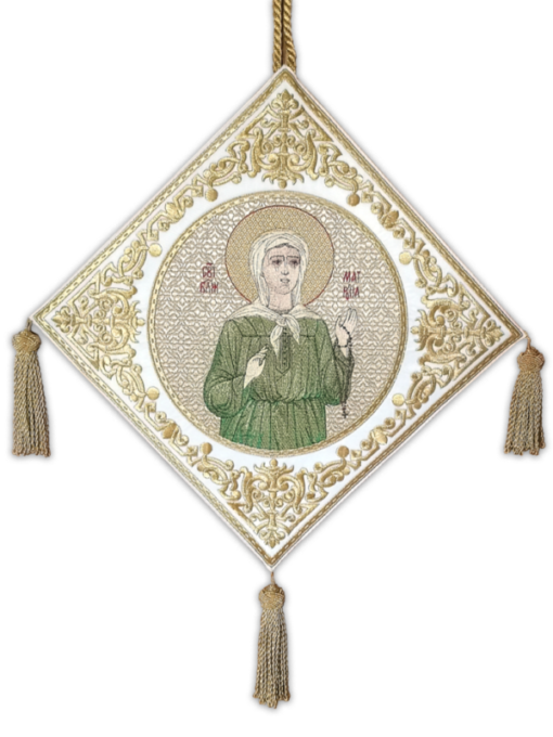 "A club with an embroidered icon of ""Blessed Matrona"""