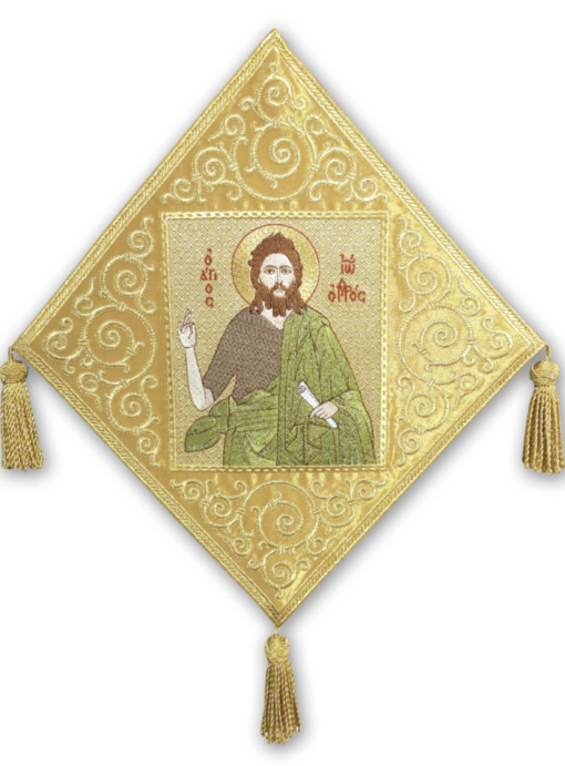 "A club with an embroidered icon ""John the Baptist"" on velvet"