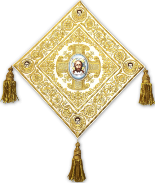 "Embroidered club with the icon ""Savior on Ubrus"", enamel"