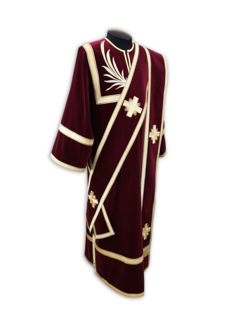 """Deacon's vestment with an embroidered mantle """"Sim Pobeda"""" made of burgundy velvet."""