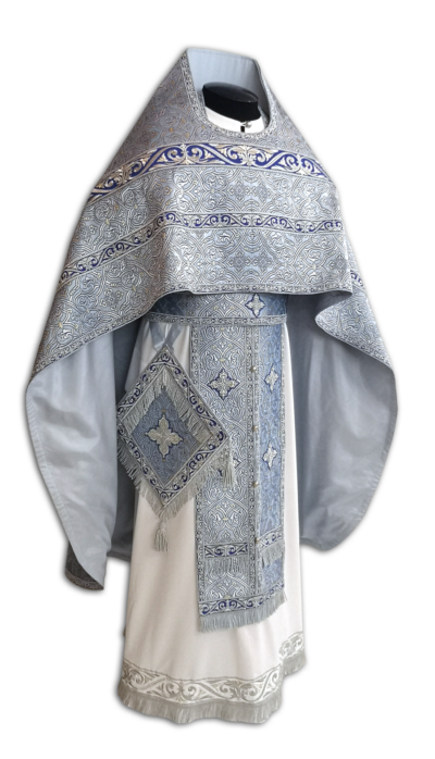 "Priestly vestments brocade ""Tverskaya"" blue / silver"