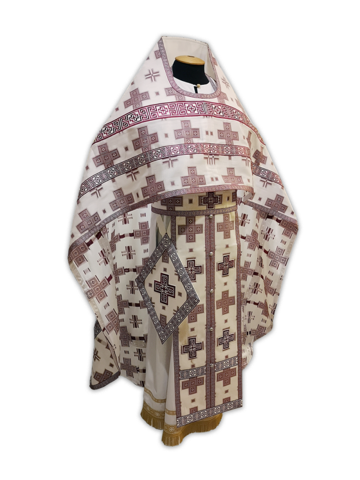 Priestly summer vestment made of Greek fabric, unlined, with embroidered galloon