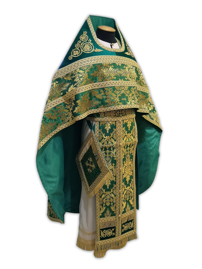 Priestly vestments of Greek brocade, embroidered mantle with an icon of the Holy Trinity