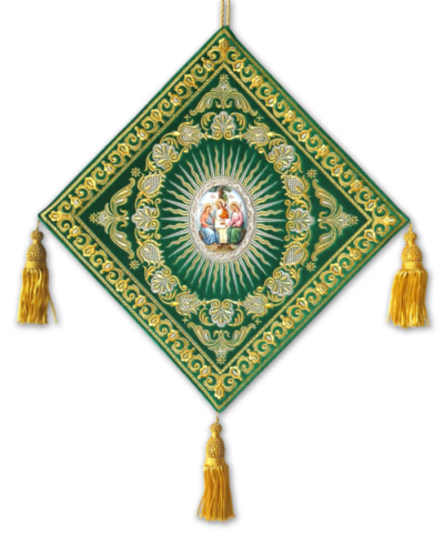 "A club embroidered on velvet with an enamel icon of the ""Holy Trinity"""