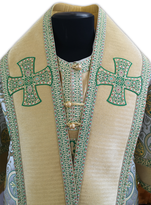 Bishop's vestment made of Greek brocade with embroidered galloon