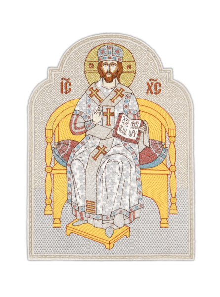 """Embroidered icon """"Savior the Great Bishop on the Throne"""""""